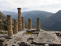 Delphi Greece. Columns of an ancient temple in Delphi Stock Image