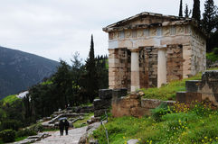Delphi Greece. Temple in Ancient Delphi Greece Royalty Free Stock Photos