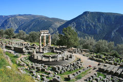 Delphi Greece. Delphi is both an archaeological site and a modern town in Greece. Delphic oracle royalty free stock images