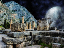 Mystical Night at Delphi,Greece. A mystical night scene at Delphi,Greece with stars and planets Stock Image