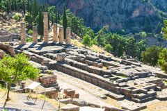 Delphi, Greece: Ruins of Temple of Apollo with Delphi Oracle, Centre of Greek culture stock photo