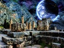 Delphi Illustration med en blå planet i utrymme Arkivbilder