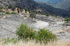 Delphi landscape in Greece Royalty Free Stock Photo
