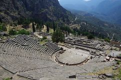 Ancient ruins of Apollo temple in Delphi, Greece Royalty Free Stock Photography