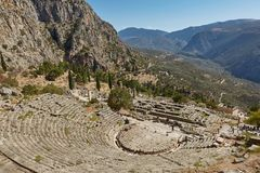 Delphi, Phocis / Greece. Ancient Theater of Delphi. The theater, with a total capacity of 5,000 spectators, is located at the san. Ctuary of Apollo. Panoramic stock photos