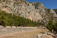 Delphi, Phocis - Greece. Panoramic view of the Stadium of Delphi stock photography