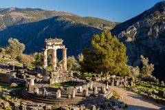 Delphi with ruins of the Temple in Greece Royalty Free Stock Photo