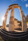 Delphi with ruins of the Temple in Greece Royalty Free Stock Image