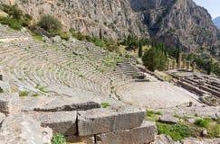 Delphi teater och Apollo tempel, Grekland Arkivfoto