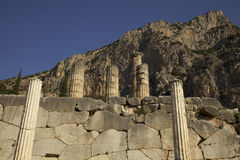 Delphi - Temple of Apollo. The remaining columns of the Temple of Apollo at Delphi in Greece Stock Photography