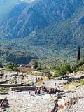 Delphi Theatre, santuario di Apollo, supporto Parnassus, Grecia fotografia stock libera da diritti