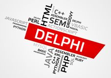 DELPHI word cloud, tag cloud, vector graphics Stock Image