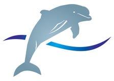 Delphin met wawe vector illustratie
