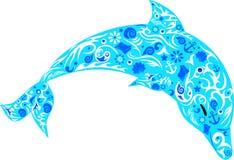 Delphin mit Mustern, ein Meerestier, der springende Fisch, wilde Fauna, eine Säugetierillustration, die Vektorzeichnung Stockfotos