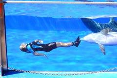 Delphin und eine Frau Lizenzfreies Stockbild