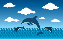 Delphine in der Seevektorillustration Lizenzfreies Stockbild