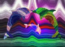 Delphine und Liebe, Familie und Kuss, abstraktes Muster stockfoto