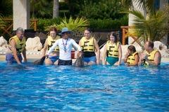 Delphinshow bei Dolphinaris Lizenzfreie Stockfotografie