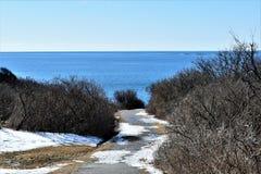 Delstatspark f?r tv? ljus och omgeende havsikt p? udde Elizabeth, Cumberland County, Maine, MIG, F?renta staterna, USA, New Engla royaltyfria bilder