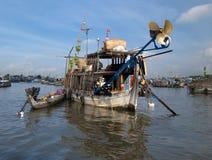 Delta浮动的市场湄公河 库存照片