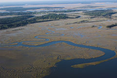 Delta蜿蜒地流的河 免版税库存照片