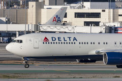 Delta Air Lines Boeing 767 airplane at Los Angeles International Airport. Stock Photos