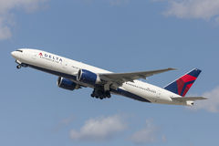 Delta Air Lines Boeing 777 airplane taking off from Los Angeles International Airport. Royalty Free Stock Image