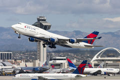 Delta Air Lines Boeing 747 Jumbo Jet taking off from Los Angeles International Airport. Royalty Free Stock Images