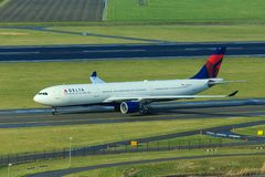 Delta Airbus A330 taxiing. Delta Airlines Airbus A330 taxiing at Schiphol Amsterdam Airport royalty free stock photography