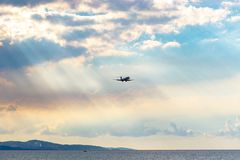 Delta Airlines aircraft landing in Montego Bay. Montego Bay, Jamaica - January 21 2017: Delta Airlines aircraft preparing to land at the Sangster International stock photo