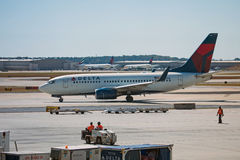 Delta Airlines airplane in Atlanta Airport. Atlanta, Georgia - October 13, 2016: Delta Airlines airplane starts a take off in Hartsfield-Jackson Atlanta Stock Photography