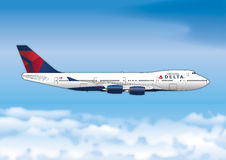 Delta Airlines, Boeing 747, United States. Vector file, illustration Royalty Free Stock Image