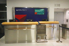 Delta Airlines counter at the gate in Terminal 4 at John F Kennedy International Airport Royalty Free Stock Photos