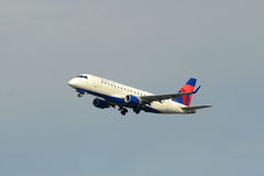 Delta Airlines Embraer 175 at Boston Airport Stock Image