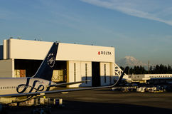 Delta Airlines Hangar at SeaTac Royalty Free Stock Image