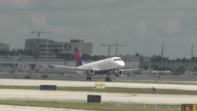 Delta Airlines jet takes off stock video