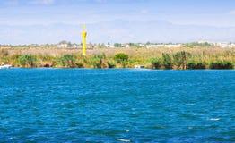 Delta av Ebro River i sommar Arkivfoton