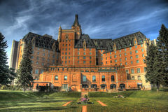 Delta Bessborough Hotel. The Delta Bessborough Hotel, a well know Saskatoon landmark. HDR image created by combining three different exposures. Minor chromatic Royalty Free Stock Photography