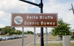 Delta Bluffs Scenic Byway sign, Hernando, Mississippi. In DeSoto County, marker signs now indicate how three segments of road have been officially turned into Stock Image