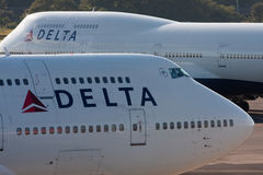 DELTA Boeing 747 At NARITA AIRPORT Royalty Free Stock Photography