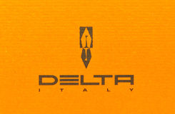 Delta brand and logo. Delta is an italian company that manufactures writing instruments including pens rollerball, a ballpoint and fountain pen inks with reality Stock Photos