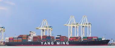 DELTA, CANADA - breng 14, 2019 in de war: groot vrachtschip worden die dat met lading bij Deltahaven wordt geladen stock foto