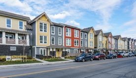 DELTA, CANADA - February 24, 2019 : street view of fishing village Ladter small town suburb of Vancouver. Rural architecture automobile building city colorful stock photo
