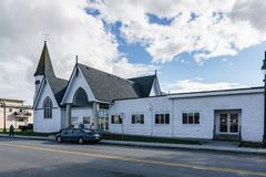 DELTA, CANADA - February 24, 2019 : street view of fishing village Ladter small town suburb of Vancouver. Rural architecture automobile building city colorful stock images