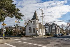 DELTA, CANADA - February 24, 2019 : street view of fishing village Ladter small town suburb of Vancouver. Rural architecture automobile building city colorful stock image