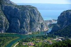 Delta of Cetina. River in Omis - Croatia stock photography