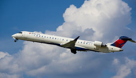 Delta Connection airplane. MONTREAL, CANADA - AUGUST 28, 2017 : Delta Connection taking off Bombardier CL-600 airplane. Delta Connection is a regional airline Stock Image