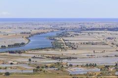 Delta de l campos del arroz del ebre del ` Imagenes de archivo
