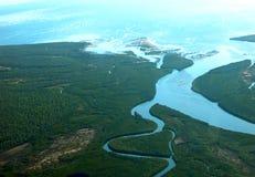 Delta de la boca de río Foto de archivo