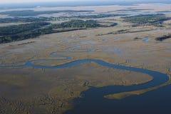 Delta de serpenteo del río Foto de archivo libre de regalías
